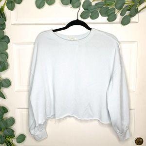 Z SUPPLY Light Blue Cropped Sweatshirt Pullover S
